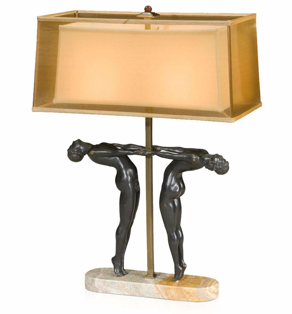 An art deco style table lamp on marble base table lamps for Art deco style lamp