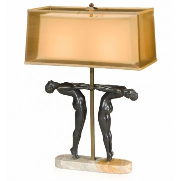 An Art Deco Style Table Lamp, on marble base