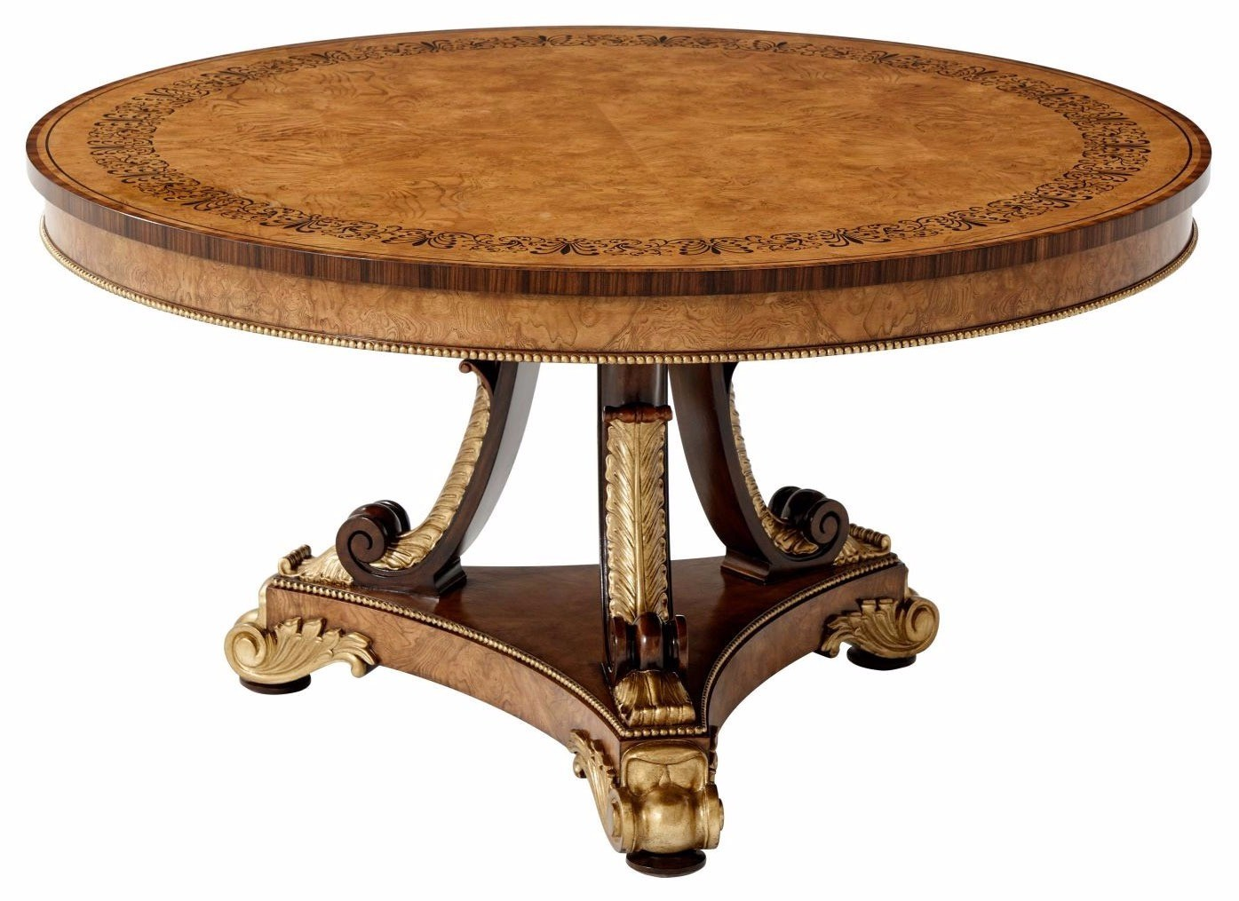 An ash burl veneered and ebonised parquetry inlaid centre table