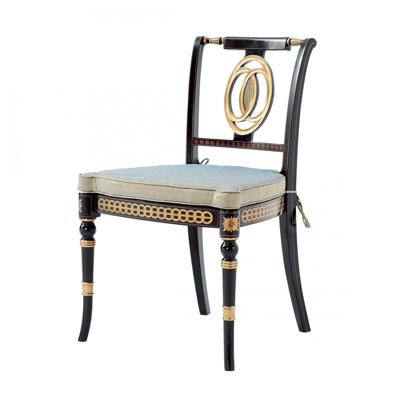 An ebonised and parcel gilt side chair