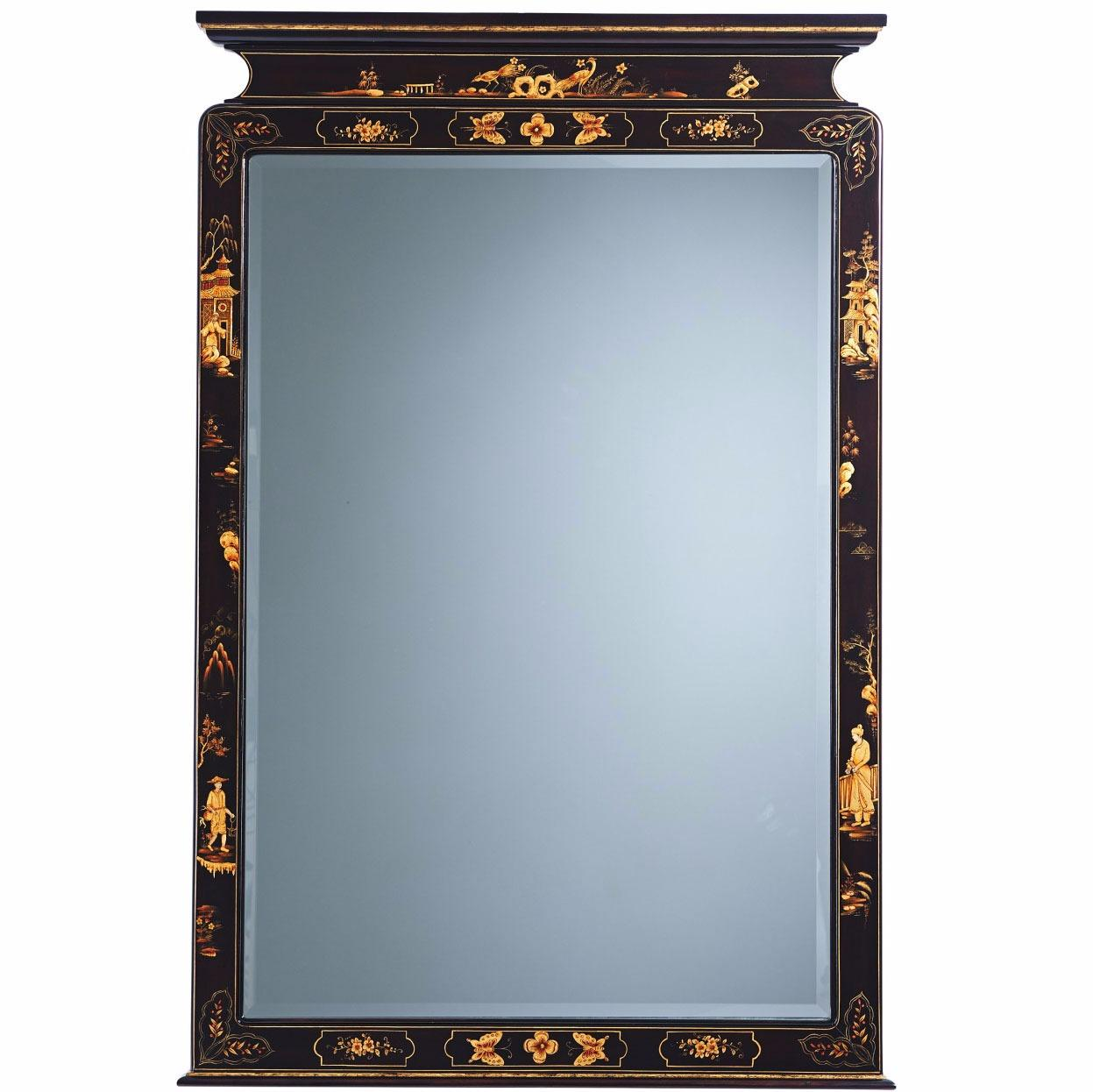 An ebonised mahogany Chinoiserie hand-painted pier mirror