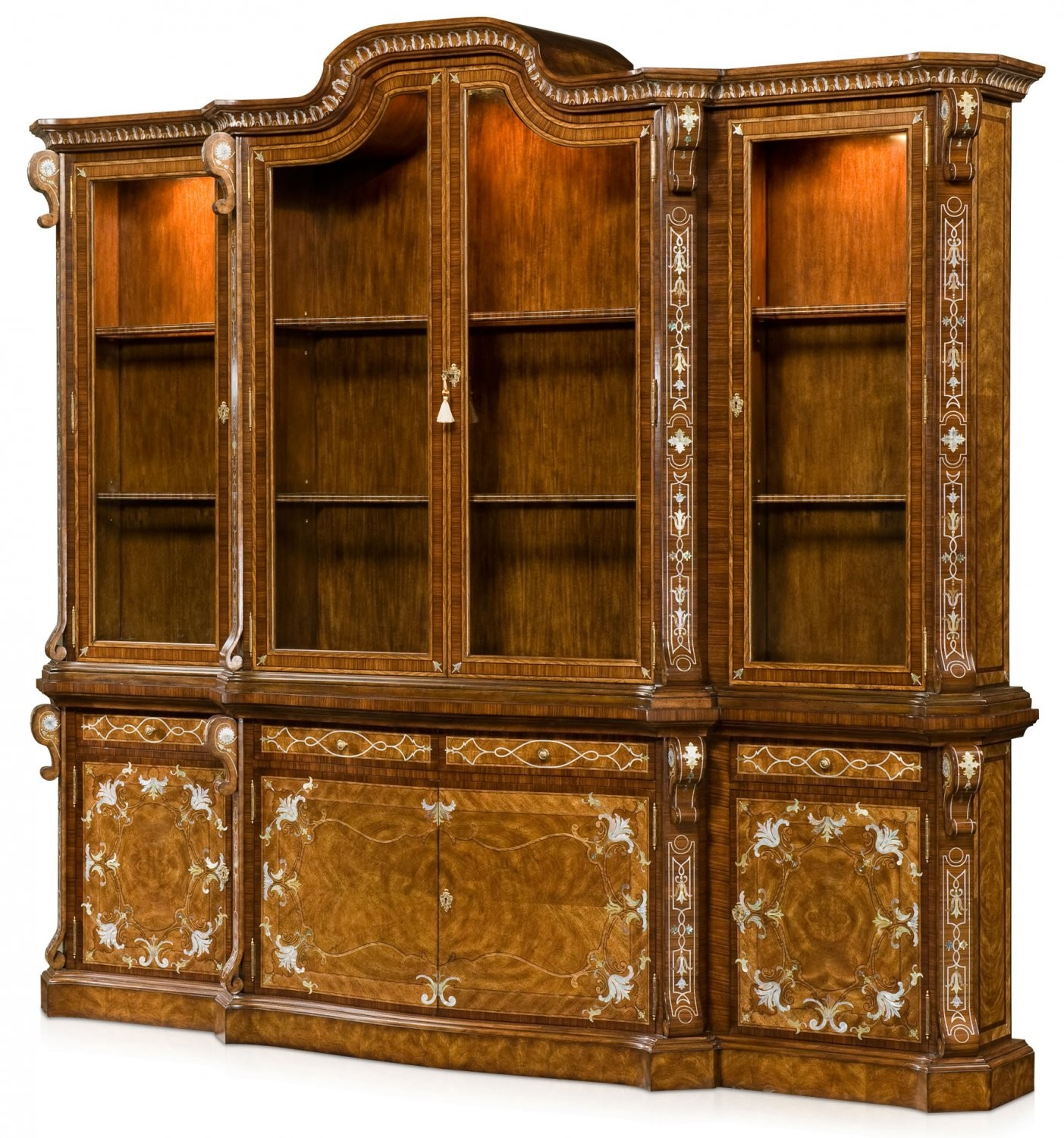 An exceptional cerejeira veneered bookcase
