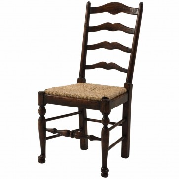 An oak ladder back side chair