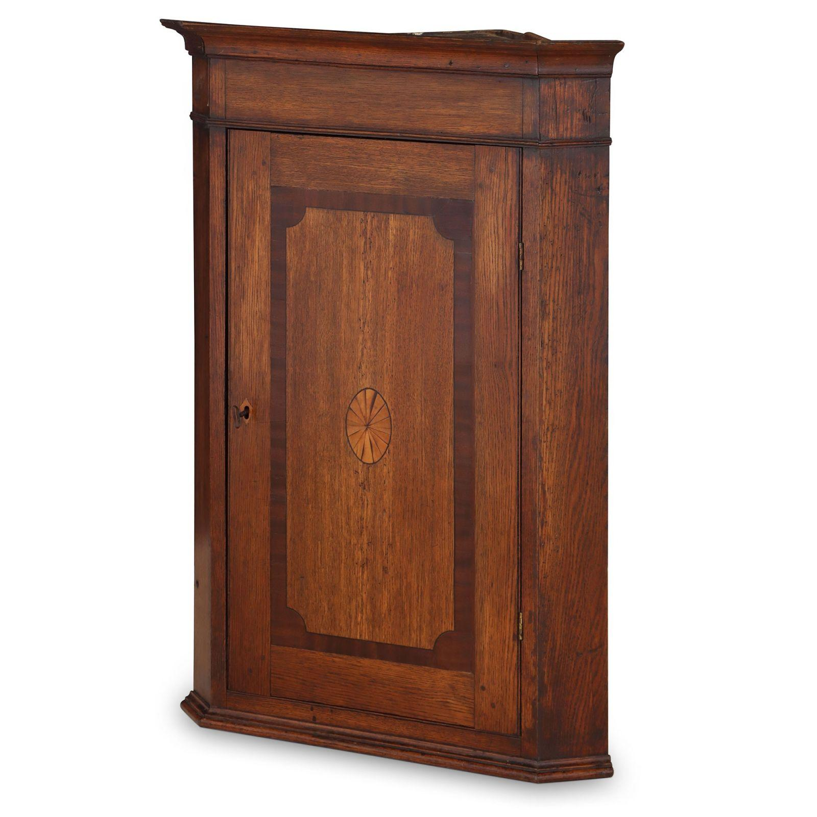 Antique solid oak corner cabinet