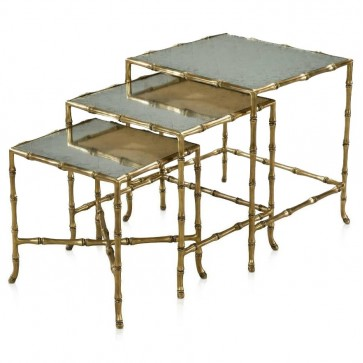 Antiqued mirror nest of three tables