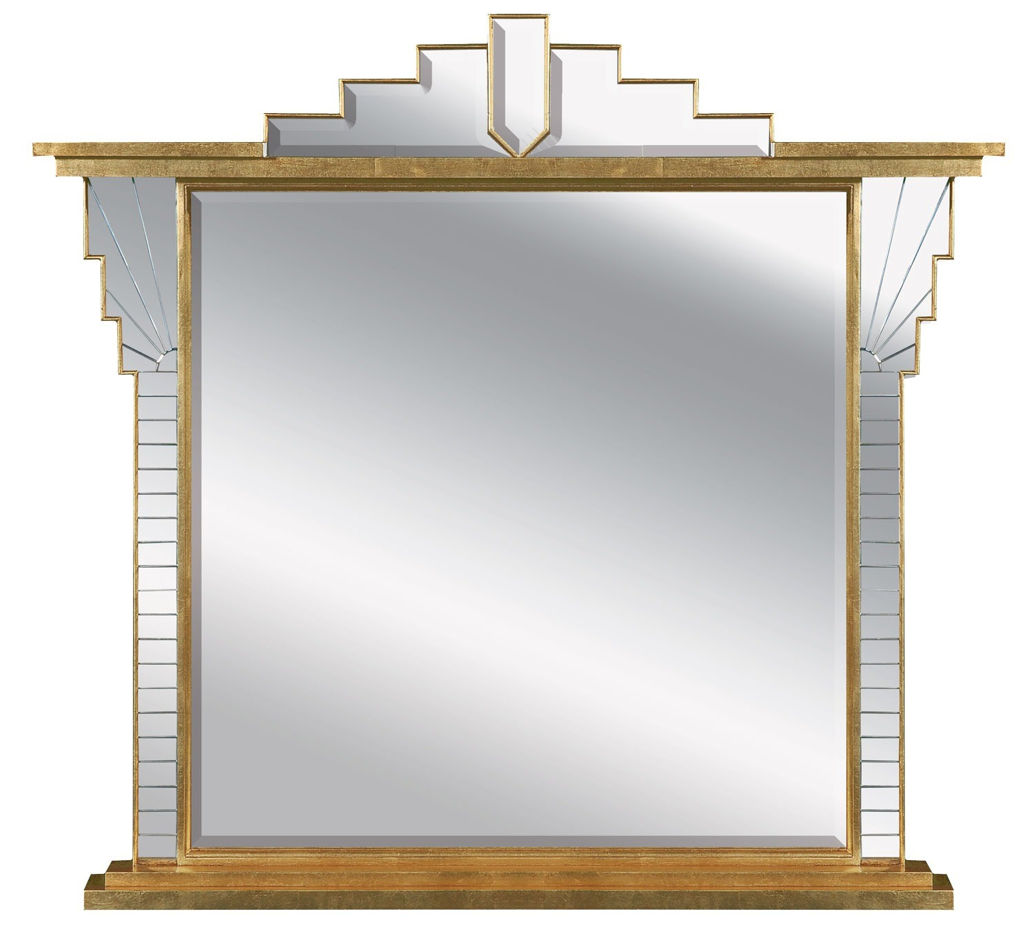 Art Deco style overmantel mirror - antique finish
