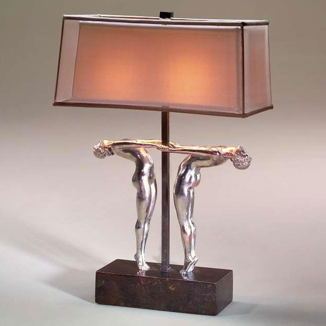 Art deco style stainless steel table lamp table lamps for Art deco style lamp