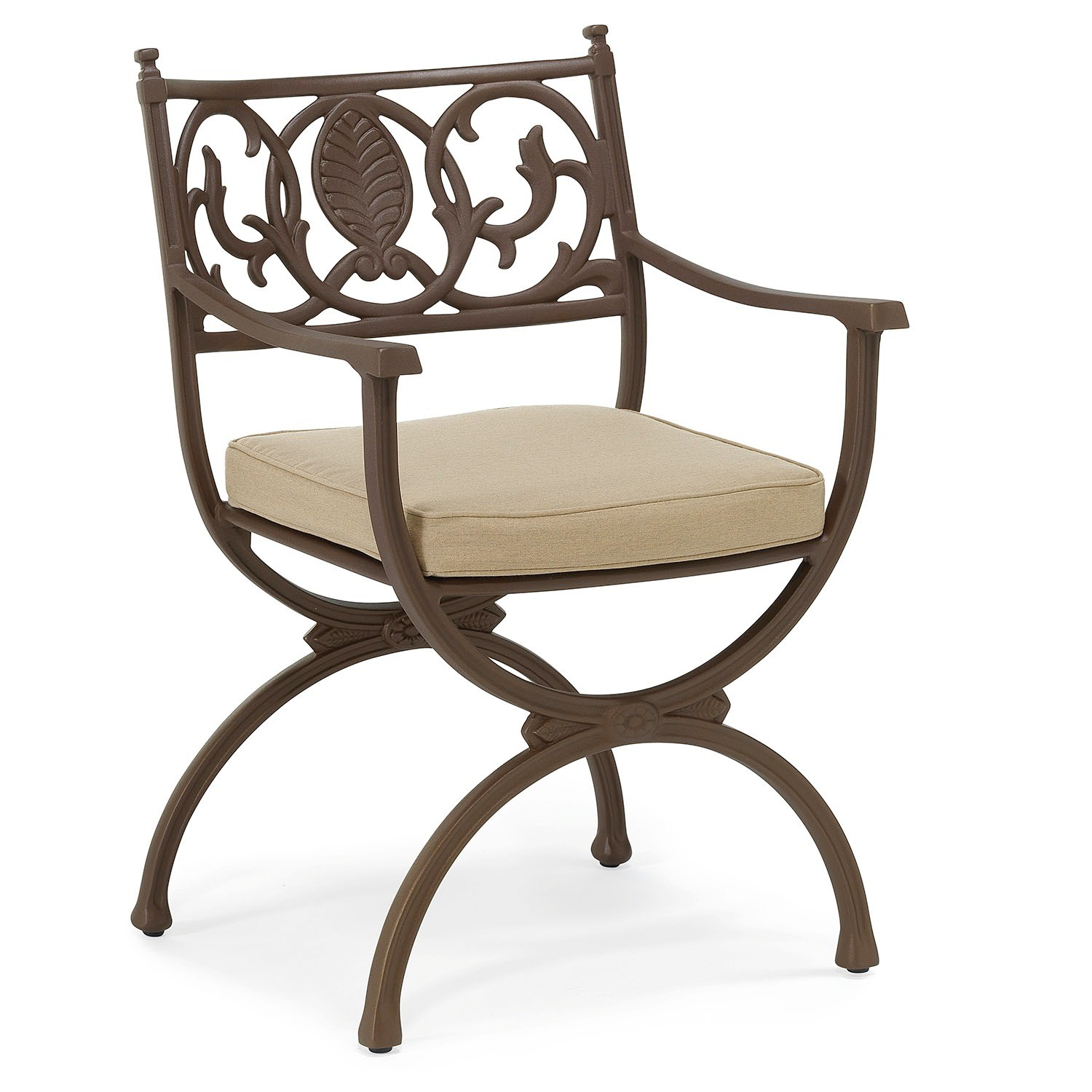 Artemis metal Outdoor dining arm chair with standard fabric seat cushion