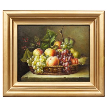 Basket of fruits, still life oil painting