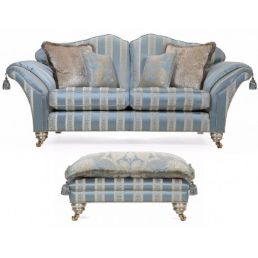 Beckingham 2.5 seat sofa and footstool in silk stripe