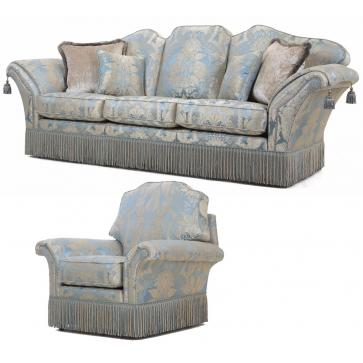 Beckingham 3.5 seat sofa + Chair in blue silk