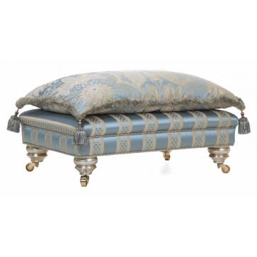 Beckingham pillow-top footstool in blue silk
