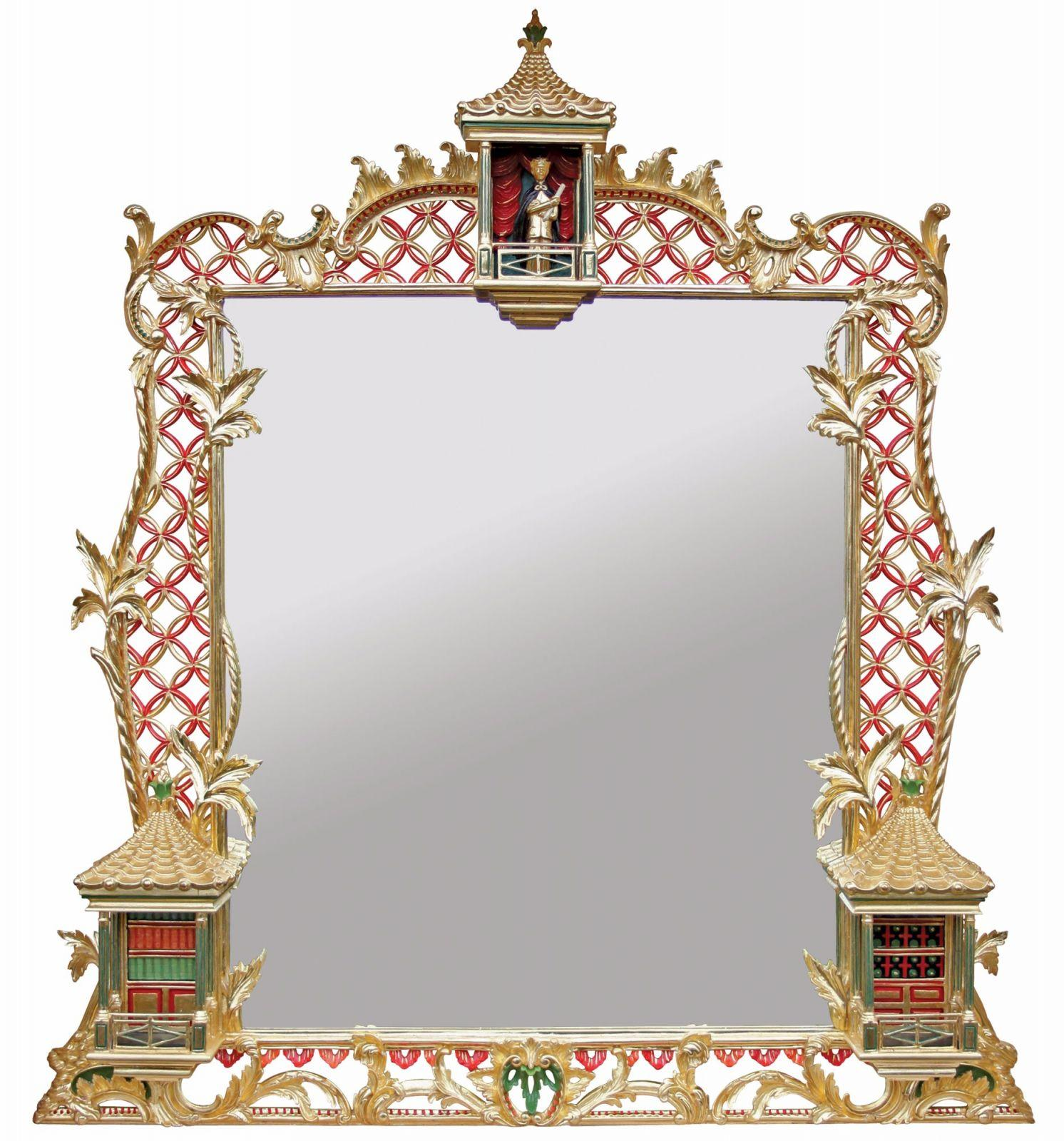 Bespoke water gilded and etched overmantel mirror