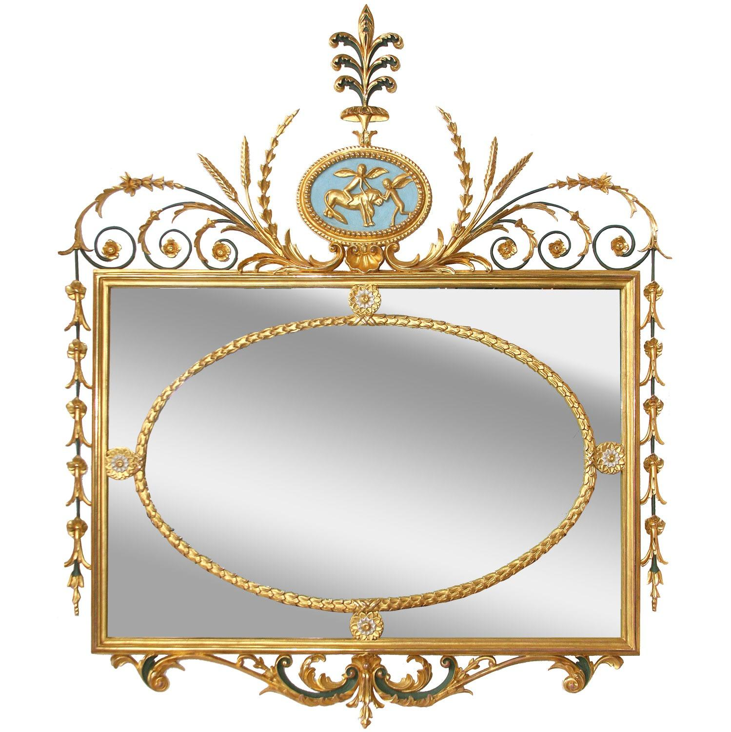 Bespoke water gilded and painted wall mirror