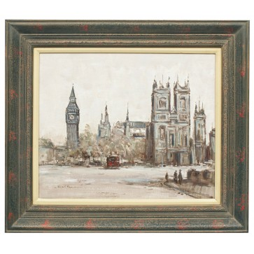 Big Ben London town, framed oil painting