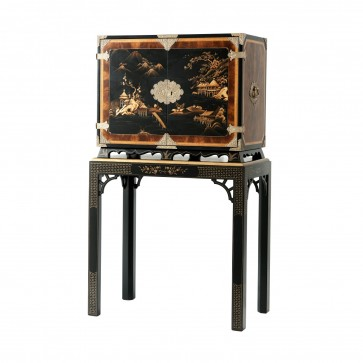 Black Lacquered Chinoiserie Cabinet with Hand-Painted Chinese Decoration