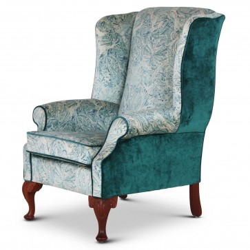 Blandford fabric wing chair in quality teal velvet