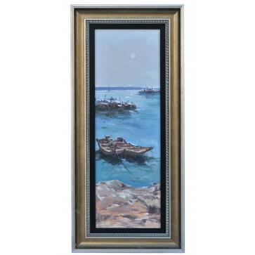 Boats at anchor with tide going out, framed oil painting
