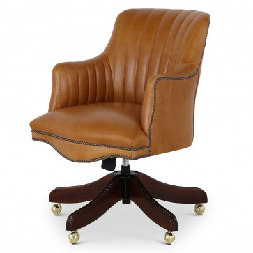 Bosuns swivel leather desk chair with vintage car stitching - Light tan