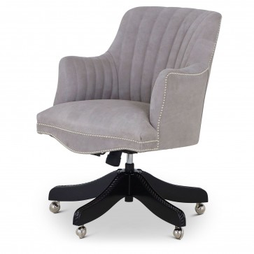 Bosuns swivel leather desk chair with vintage car stitching - suede