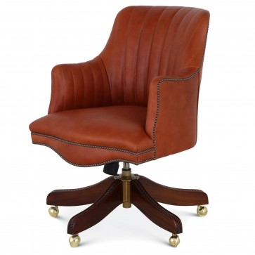 Bosuns swivel leather desk chair with vintage car stitching - Tan
