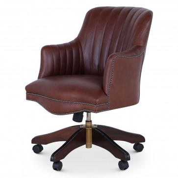 Bosuns swivel leather desk chair with vintage car stitching