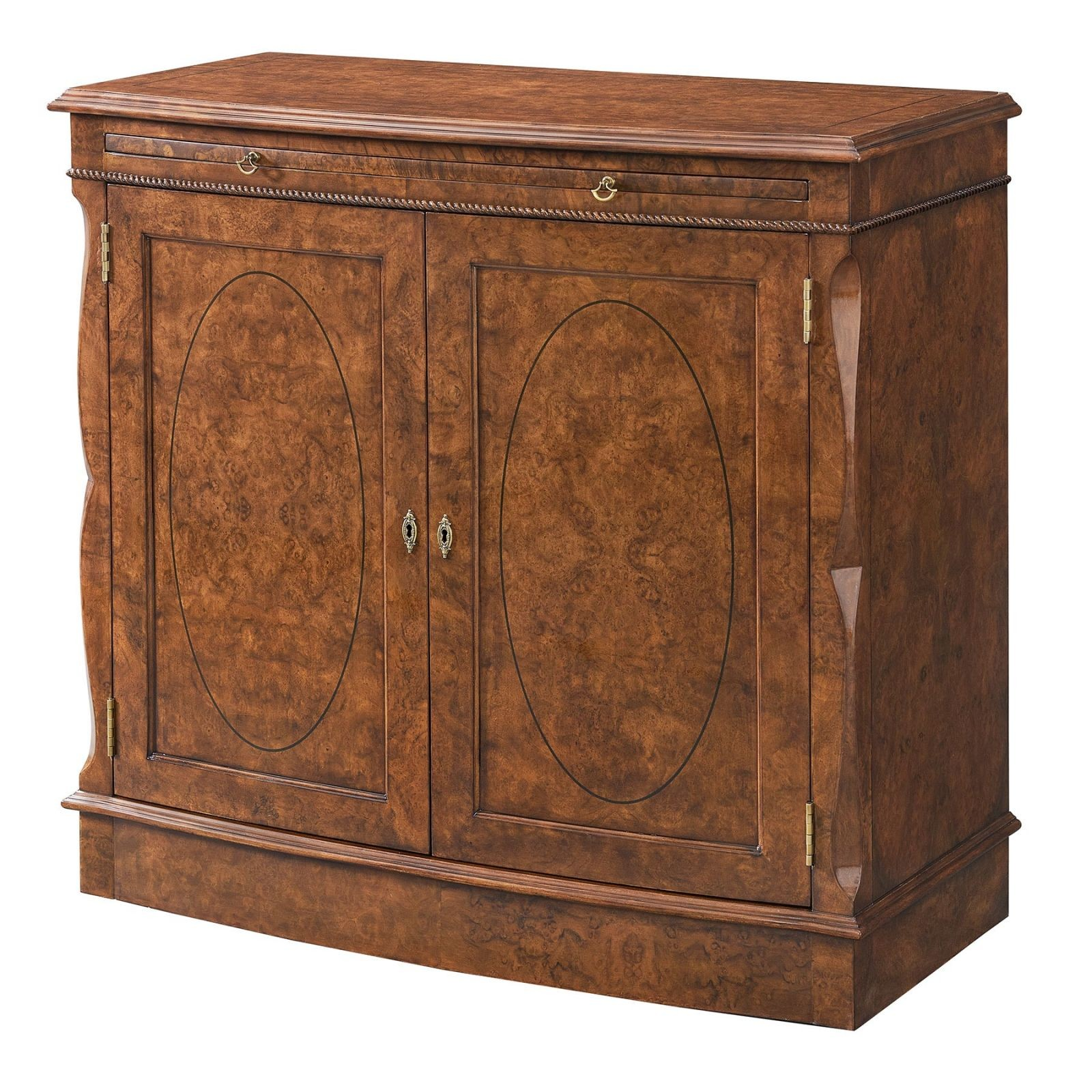 Bow fronted burr walnut side cabinet