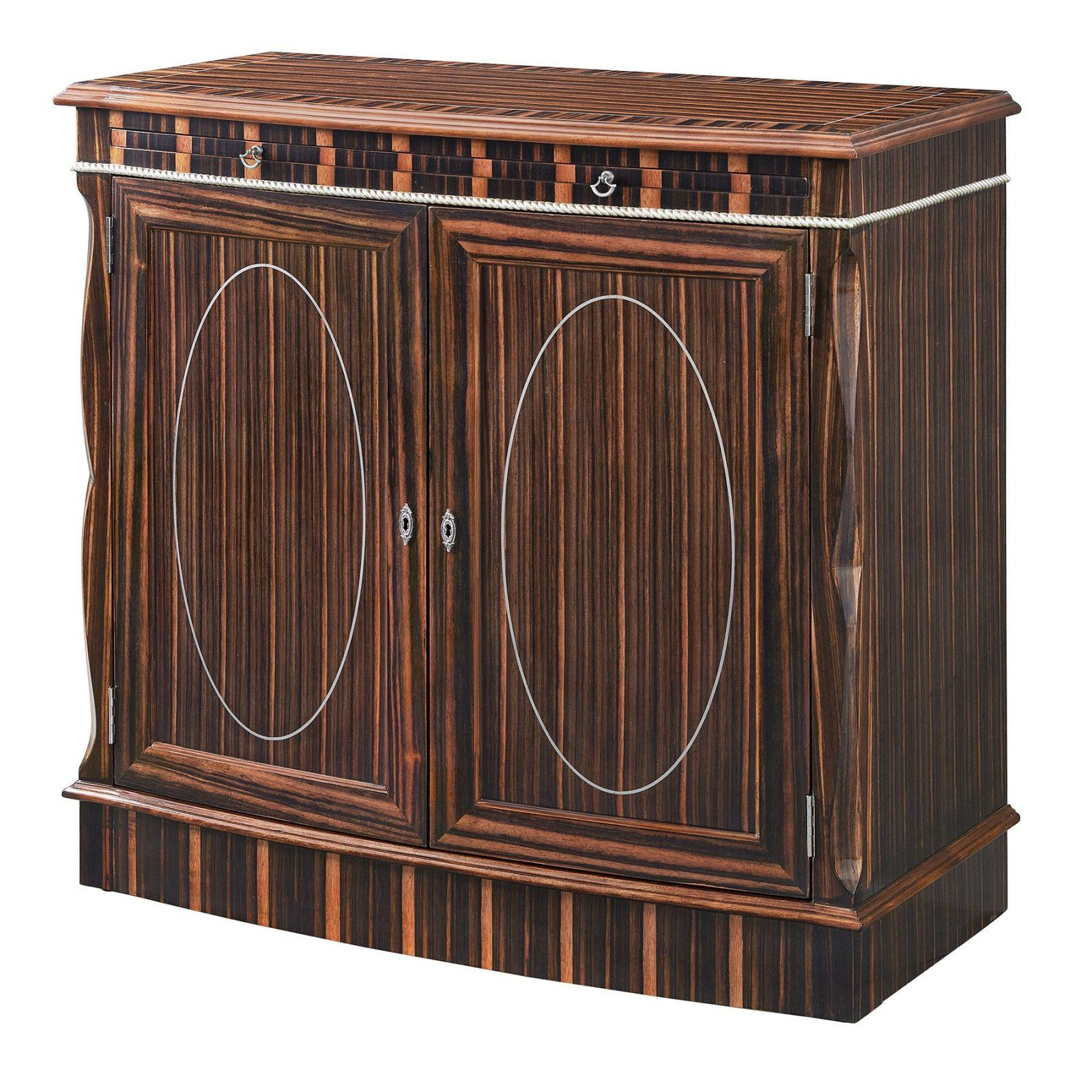 Bow fronted ebony side cabinet