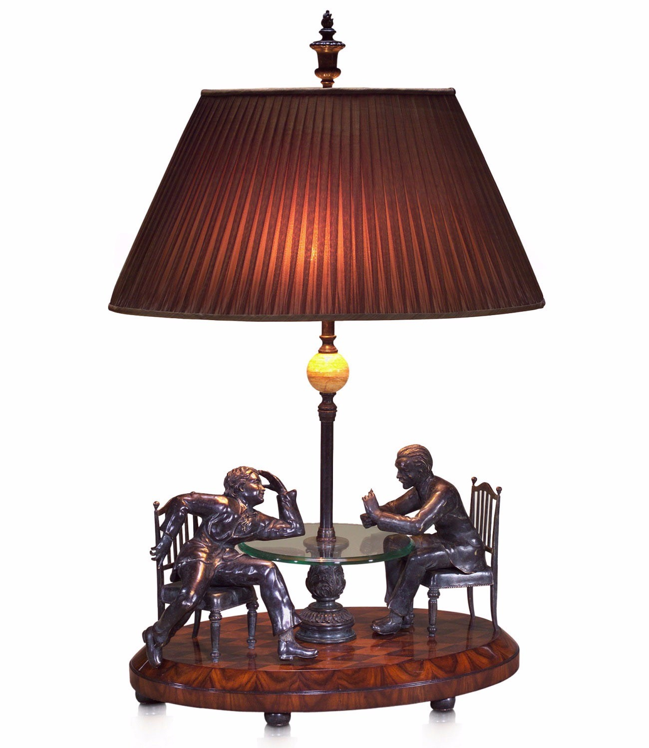 Brass and rosewood table lamp