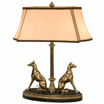 Brass dogs table lamp