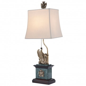 Brass griffin and mahogany table lamp