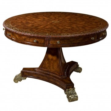 Brass inlaid centre table with scroll brass feet