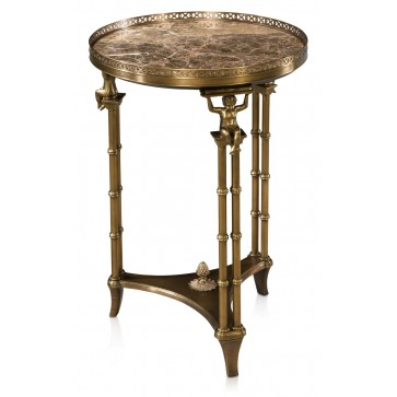 Brass lamp table with marble top