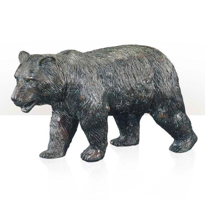 Brass model of a walking brown bear