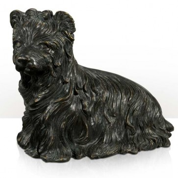 Brass model of long haired dog