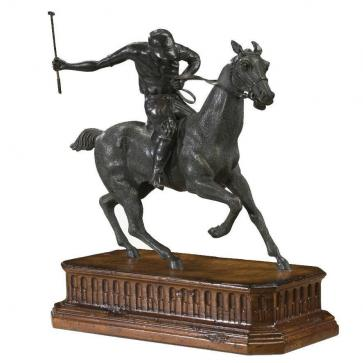 brass statue of a race horse and jockey
