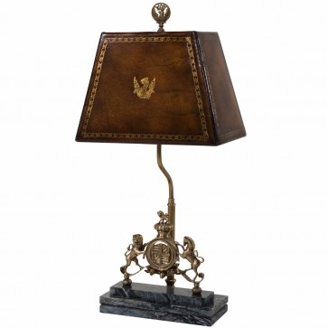 brass table lamp with hand sewn leather shade