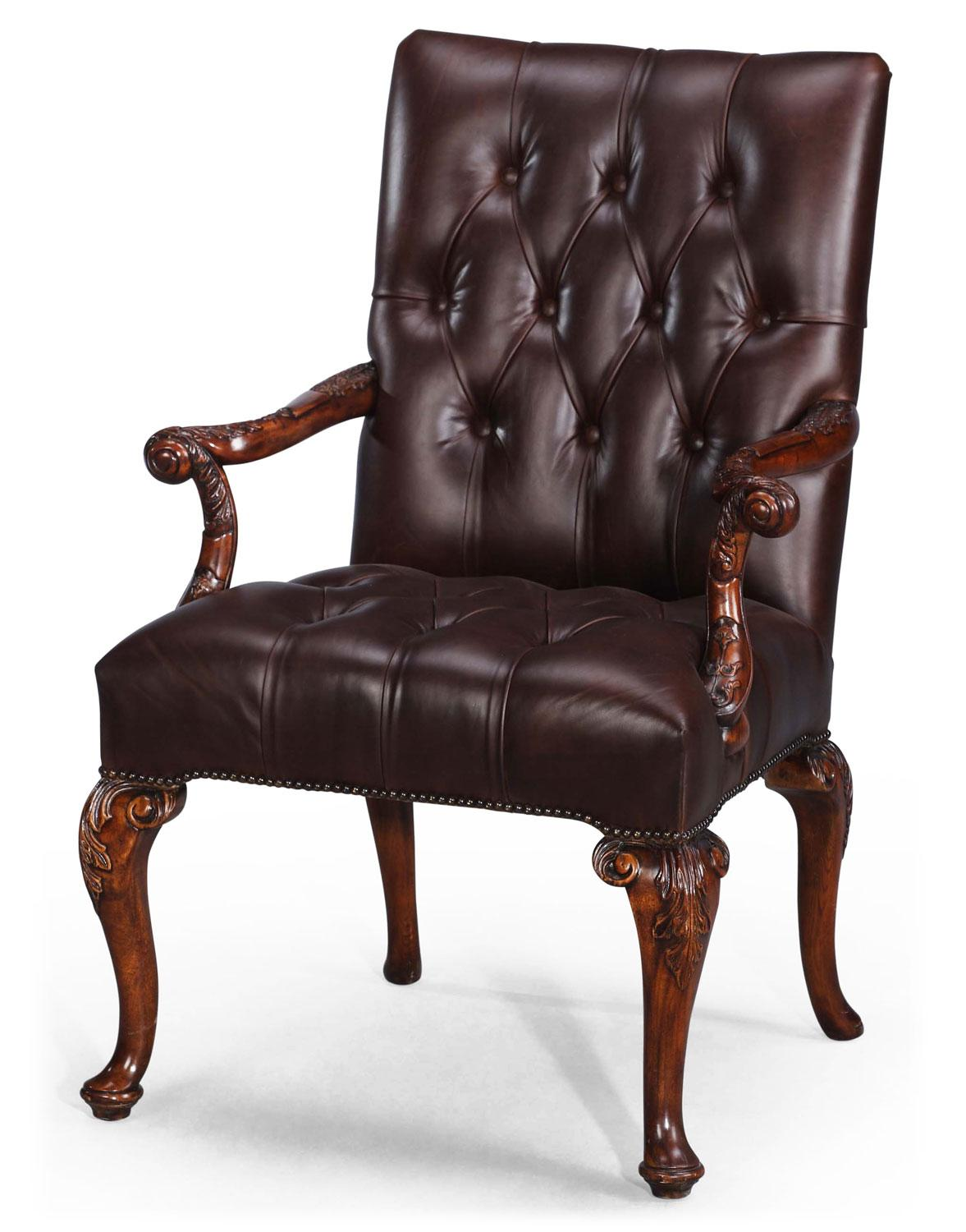 brown leather library chair desk chairs from brights of nettlebed. Black Bedroom Furniture Sets. Home Design Ideas