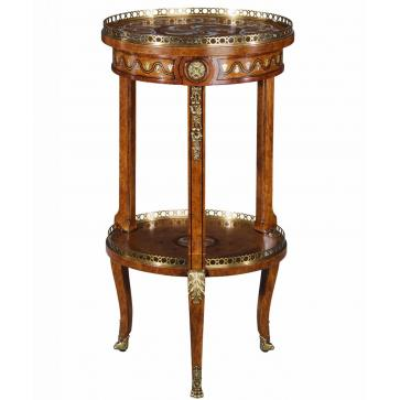 Burl and mother of pearl inlaid lamp table