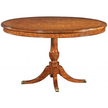 Burr oak round dining table