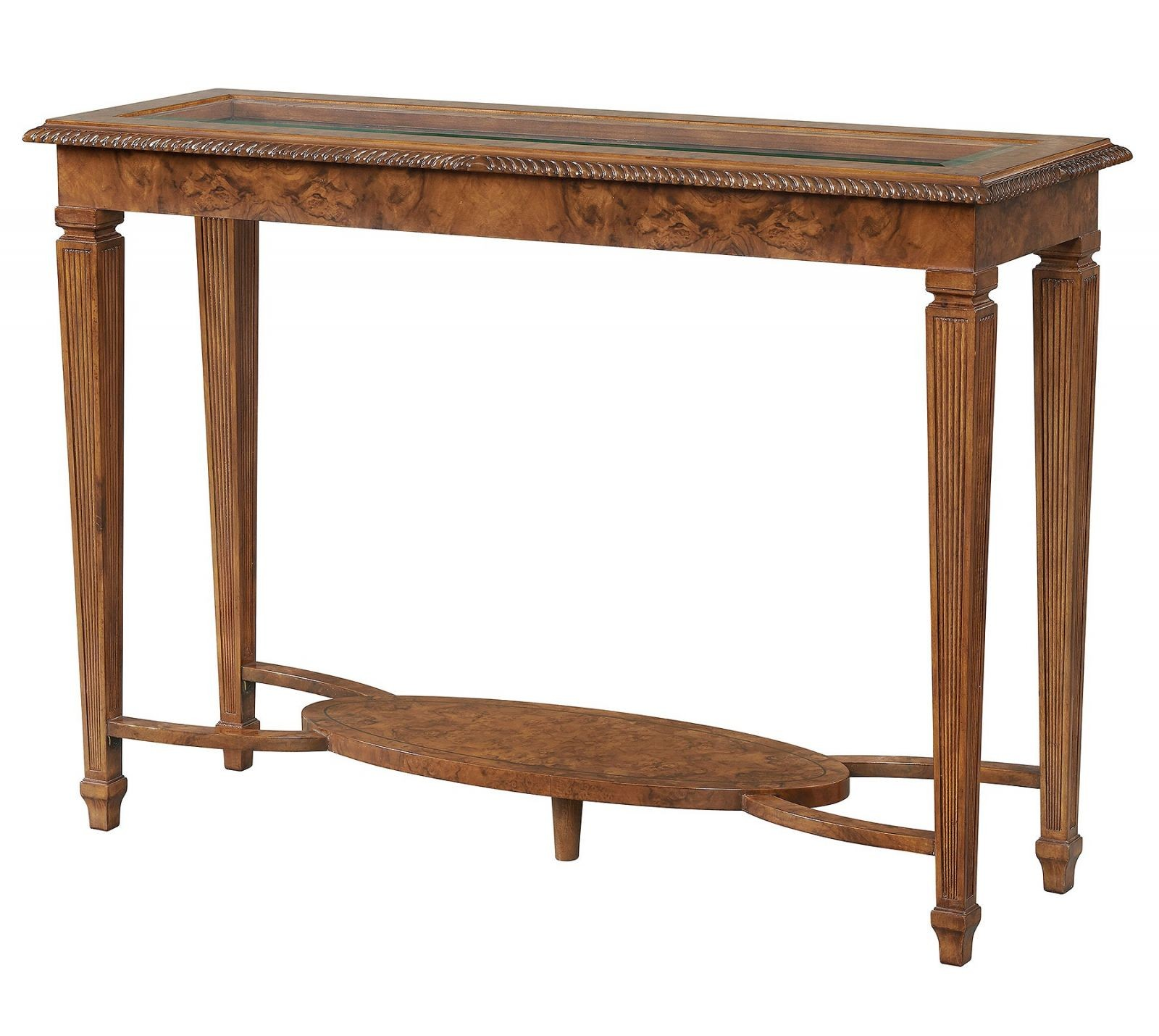 Burr walnut console table with glass top