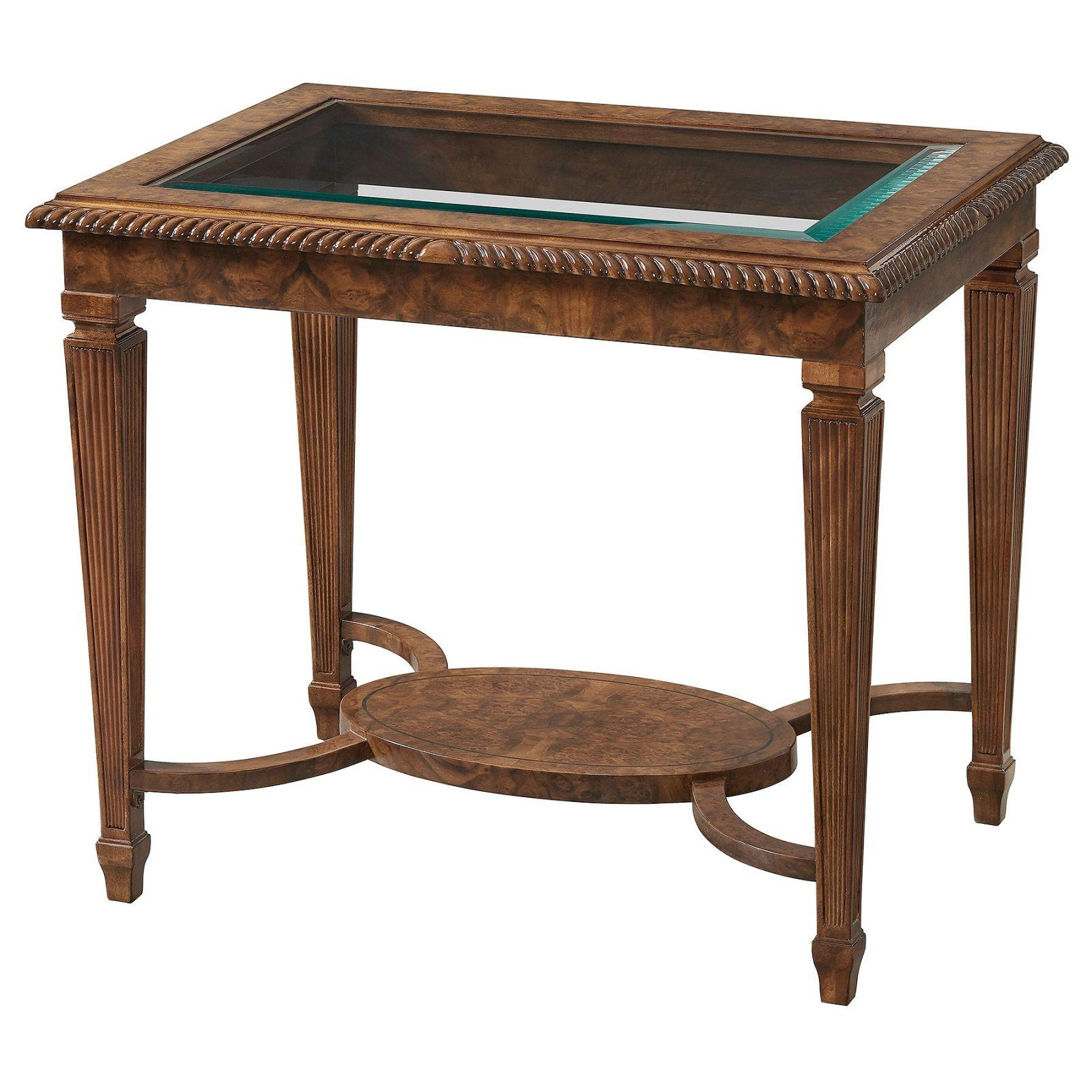 Burr walnut side or lamp table with glass top
