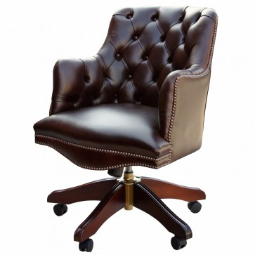 Buttoned Bosuns swivel chair in Heritage dark chocolate leather