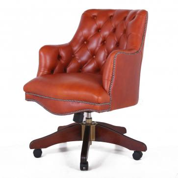 Buttoned Bosuns swivel chair in Heritage tan leather