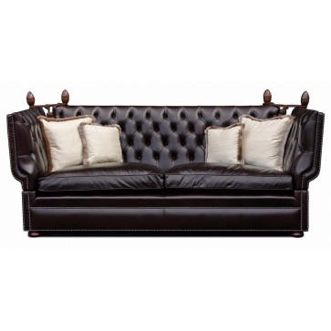 Buttoned Manor Knole 3 seat sofa in Heirtage dark chocolate leather