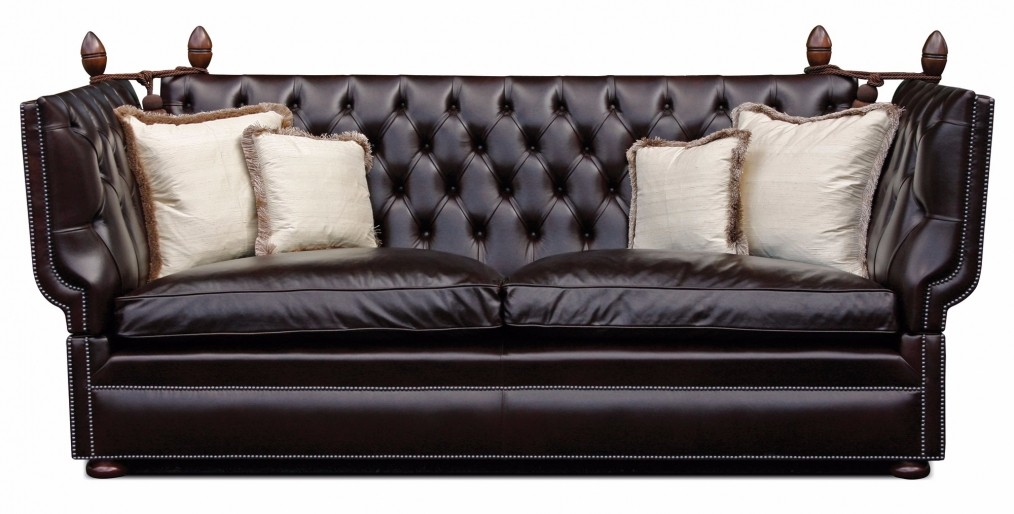 Buttoned Manor Knole 3 Seat Sofa In Heirtage Dark