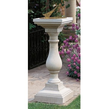 Cast stone baluster with brass sundial