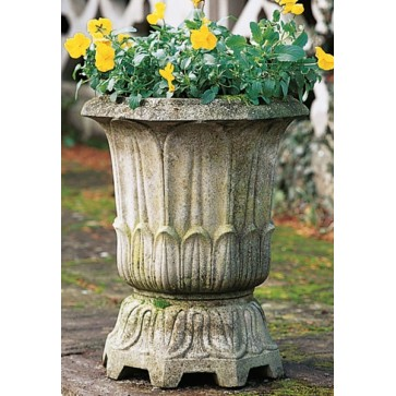 Cast stone lotus leaf vase planter