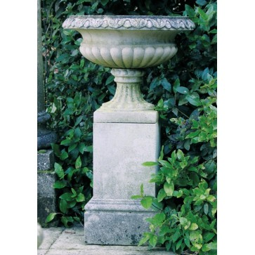 Cast stone Regency urn planter on pedestal