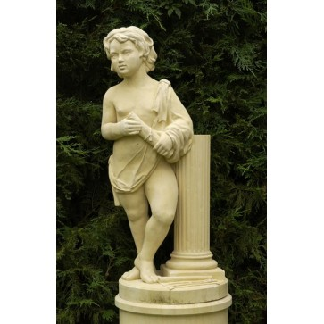 Cast stone statue on pedestal - Architecture